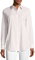 Lafayette 148 New York Brody Button-Front Check-Print Blouse