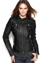 MICHAEL Michael Kors Leather Buckle-Collar Motorcycle Jacket