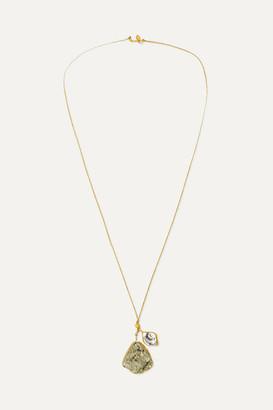 Pippa Small 18-karat Gold, Pyrite And Herkimer Diamond Necklace