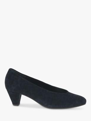 Gabor Gambit Suede Leopard Print Block Heeled Court Shoes, Navy