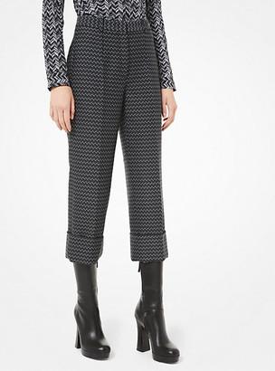 Michael Kors Deco Herringbone Wool Cuffed Trousers
