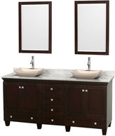 WYNDHAM COLLECTION Acclaim 72 inch Double Bathroom Vanity with WhiteCarrera Marble Countertop and Avalon Ivory MarbleSinks