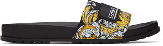 Versace Jeans Couture Black and Gold Baroque Print Slides