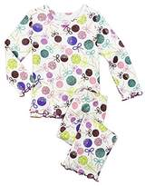 Sara's Prints Baby Girls' Cozy Ruffled Relaxed Fit Pajama Set