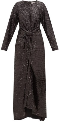 Preen by Thornton Bregazzi Loena Sequinned-jersey And Silk-satin Maxi Dress - Womens - Black
