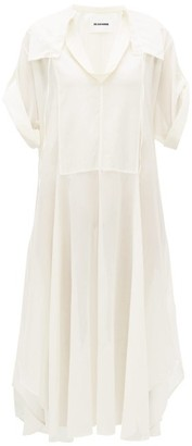 Jil Sander Cotton-blend Voile Shirtdress - Ivory