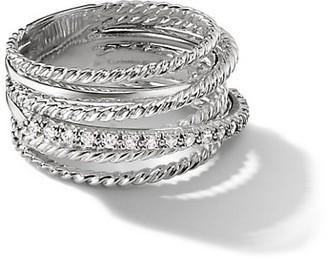 David Yurman Crossover Wide Ring with Diamonds