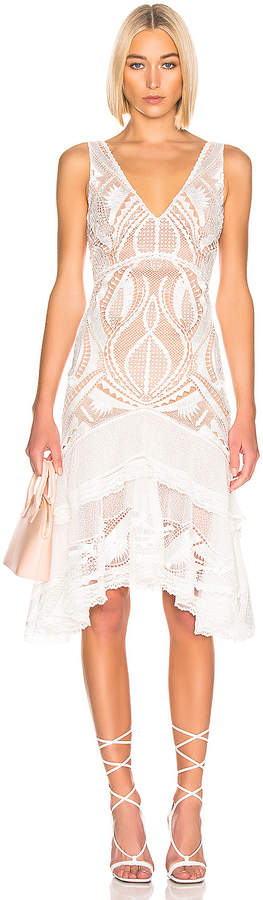 Jonathan Simkhai Guipure V-Neck Tiered Dress in White | FWRD