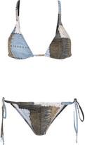 Norma Kamali Printed Patchwork Denim-effect Triangle Bikini - Blue