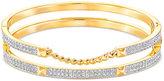 Swarovski Gold-Tone Pavé Double Stacked Bangle Bracelet