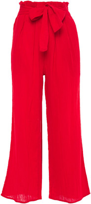 Mara Hoffman Bow-detailed Cotton-gauze Wide-leg Pants