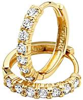 GoldenMine Fine Earrings 14k Yellow Gold 2mm Thickness CZ Hoop Huggies Earrings (13 x 13 mm)