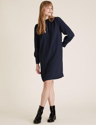 Marks and Spencer Crepe High Neck Knee Length Shift Dress