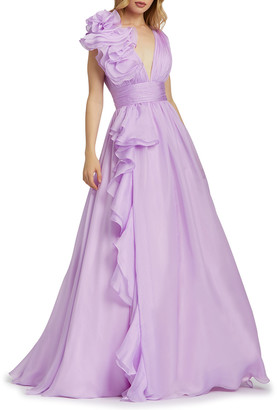 Mac Duggal Sleeveless Floral Ruffle Ruched Chiffon Ball Gown