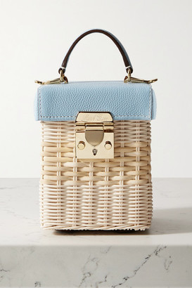 Mark Cross Grace Cube Rattan And Textured-leather Tote - Sky blue