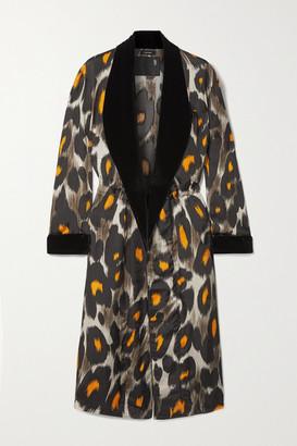 R 13 Velvet-trimmed Leopard-print Cupro Jacket - Gray