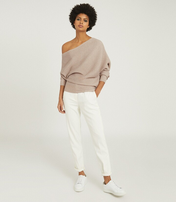 Thumbnail for your product : Reiss Lorna - Asymmetric Knitted Top in Stone