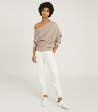 Reiss Lorna - Asymmetric Knitted Top in Stone