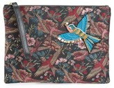 Sam Edelman Rhea Bird Brocade Top Zip Clutch - Black