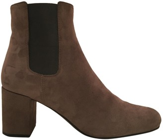Saint Laurent Brown Suede Ankle boots