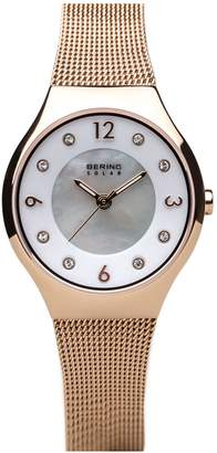 Bering Women's Rosetone Solar Mesh Bracelet Watch