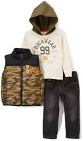Rocawear Olive Camo Vest, 'Rocawear 99' Hoodie & Straight-Leg Jeans Set - Toddler & Boys