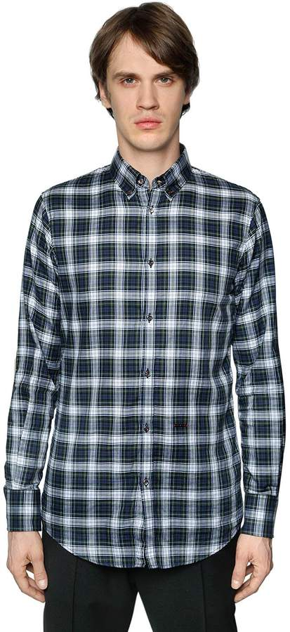 DSQUARED2 Plaid Cotton Shirt W/ Elbow Patches