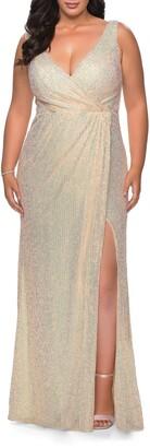 La Femme Sequin Faux Wrap Gown