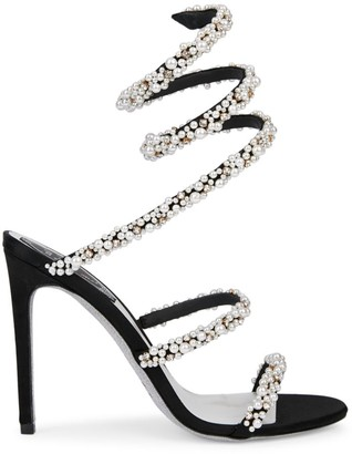 Rene Caovilla Cleo Ankle-Wrap Faux Pearl-Embellished Satin Sandals