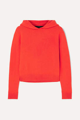 The Elder Statesman Cropped Cashmere Hoodie - Red
