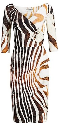 Chiara Boni Florien Zebra-Stripe Sheath Dress