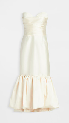 Sandra Mansour Strapless Mikado Pleated Ruffled Dress