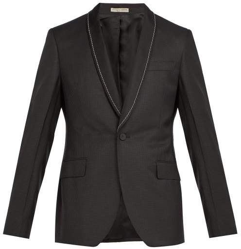 Bottega Veneta Chain Embellished Houndstooth Blazer - Mens - Black