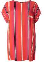Dorothy Perkins Womens DP Curve Plus Size Red Stripe Zip Back Top- Red