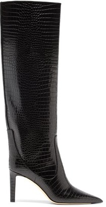 Jimmy Choo Mavis 85 Point-toe Crocodile-effect Knee Boots - Black