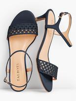 Talbots Pila Perfortated Kitten-Heel Sandals-Vachetta Leather