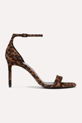 Saint Laurent Amber Leopard-print Suede Sandals - Leopard print