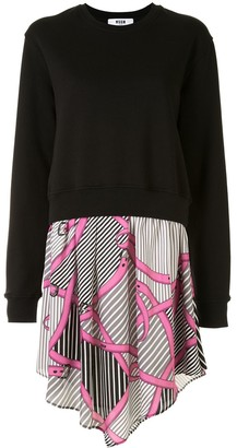 MSGM Belt-Print Sweatshirt Dress