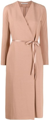 Agnona crepe wrap-effect dress