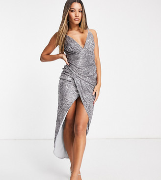 Jaded Rose exclusive sequin wrap cami maxi dress in gunmetal