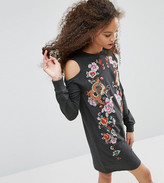 Asos Sweat Dress with Cold Shoulder and Embroidery