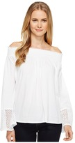 Three Dots Trellis Lace Peasant Top Women's Clothing