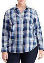 Lauren Ralph Lauren Plus Plaid Two-Pocket Button-Down Shirt