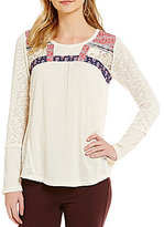 Jolt Rib Knit Mixed Media Tunic