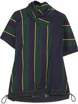 Sacai Striped Linen-blend T-shirt - Navy
