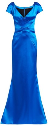 Zac Posen Seamed Stretch Satin Short Sleeve Column Gown