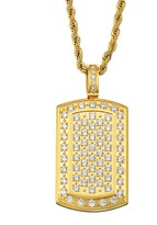 Men's Cubic Zirconia Gold Tone Stainless Steel Dog Tag Necklace
