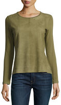 Majestic Paris for Neiman Marcus Long-Sleeve Suede & French Terry Crewneck Top