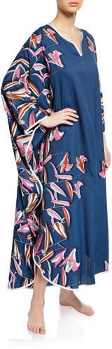 Diamond Tea Gown Floral-Print Long-Sleeve Caftan
