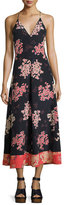 Rebecca Taylor Phlox Sleeveless Floral-Print Silk Maxi Dress, Navy